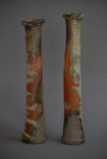 2 Vasen , mit starken grünem Aschefluß - 2011 - 35 x 7 cm / 33 x 6 cm